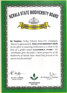 Certificate of Kerala state biodiversity board