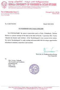 Certification from Kerala university of fisheries and ocean studies