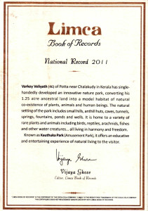 Limca certificate for innovative national park